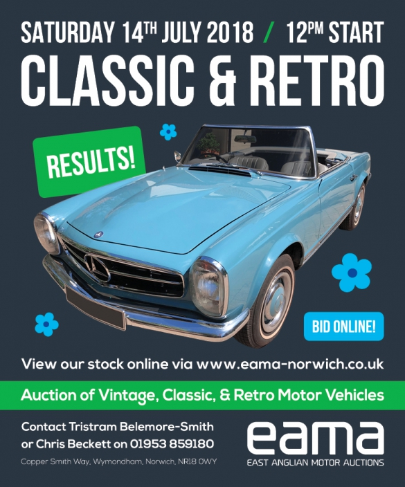 July S Classic Retro Auction Results East Anglian Motor Auctions